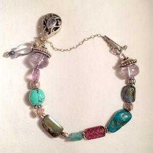 """Silver & Gemstone Beaded Bracelet 7"""" Turquoise Etc"""